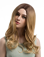 Women Synthetic Wig Capless Long Wavy Brown Ombre Hair Middle Part Natural Wigs Costume Wig