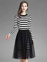 EWUS Women's Going out Casual/Daily Street chic Fall Blouse Skirt SuitsStriped Round Neck Long Sleeve Pleated Micro-elastic
