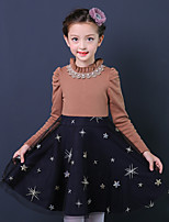 Girl's Birthday Going out Floral Patchwork Dress,Cotton Polyester Fall Winter Long Sleeve