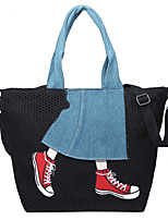 Women Bags All Seasons Canvas Tote Lace Pattern / Print for Shopping Casual Black Gray