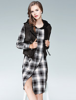 EWUS Women's Daily Going out Street chic Fall Tank Top Skirt Suits,Plaid/Check Hooded Long Sleeve Cotton Polyester Micro-elastic