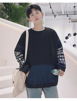 Men's Going out Sweatshirt Color Block Letter Round Neck Micro-elastic Others Long Sleeve Spring Fall