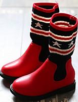 Fille Chaussures Tricot Orlon Printemps Automne Confort Bottes à la Mode Bottes Bottes Pour Décontracté Noir Rouge