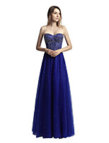A-Line Sweetheart Floor Length Tulle Prom Formal Evening Dress with Beading by Sarahbridal