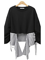 Women's Daily Going out Casual Street chic All Seasons T-shirt,Striped Round Neck Long Sleeves Polyester Medium