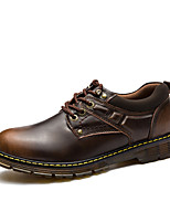 Men's Shoes Leather Fall Comfort Oxfords Lace-up For Casual Outdoor Light Brown Blue Black