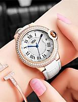 Mulheres Relógio de Moda Quartzo Couro Legitimo Banda Preta Branco Rosa Roxa