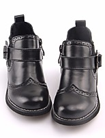 Girls' Shoes Real Leather Fall Winter Combat Boots Boots Booties/Ankle Boots Gore For Casual Black