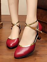 Women's Modern Cowhide Indoor Splicing Customized Heel White Black Red 1