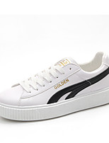 Women's Shoes PU Spring Summer Comfort Novelty Sneakers Flat Heel Round Toe Split Joint For Casual Outdoor Black/White Black White