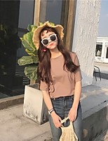 Women's Going out Street chic Summer T-shirt,Solid Round Neck Short Sleeves Cotton Thin