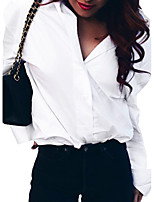 Women's Daily Shirt,Solid Shirt Collar Long Sleeves Polyester