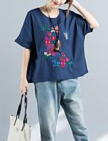 T-shirt Da donna Casual Stoffe orientali Ricamato Rotonda Cotone Mezza manica