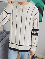 Men's Casual/Daily Simple Regular Pullover,Striped Round Neck Long Sleeves Acrylic Winter Medium Micro-elastic