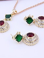 Women's Wedding Party Cubic Zirconia Rhinestone Necklace Earrings