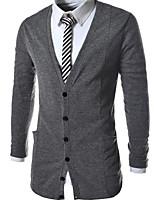 Men's Casual/Daily Simple Regular Cardigan,Solid V Neck Long Sleeves Polyester Fall Medium Micro-elastic