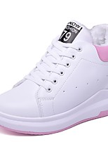 Women's Shoes PU Fall Winter Fur Lining Fluff Lining Comfort Sneakers Track & Field Shoes Closed Toe For Outdoor Black/White Pink/White