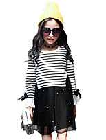 Girl's Birthday Casual/Daily Going out Solid Striped Print Dress,Cotton Spring Fall Long Sleeve