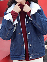 Women's Casual/Daily Simple Fall Winter Denim Jacket,Solid Shirt Collar Long Sleeve Regular Cotton Acrylic