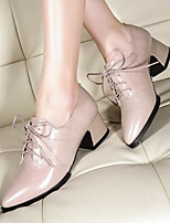 Women's Shoes Nappa Leather PU Fall Winter Basic Pump Heels Flat Heel Booties/Ankle Boots For Casual Black Blushing Pink Burgundy