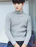 Men's Casual/Daily Simple Regular Pullover,Solid Turtleneck Long Sleeves Rayon Winter Medium Micro-elastic