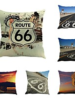 Set Of 6 The United States Route 66 Printing Pillow Cover Creative 45*45Cm Pillow Case