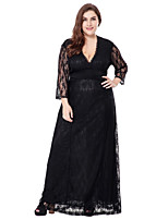 Women's Party Plus Size Casual/Daily Sexy Simple Sophisticated A Line Lace Swing Dress,Solid Jacquard V Neck Maxi 3/4 Length Sleeves