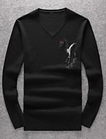 Men's Going out Casual/Daily Short Pullover,Solid V Neck Long Sleeves Wool Others Spring Medium Micro-elastic
