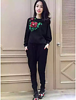 Women's Casual/Daily Simple Spring Fall Hoodie Pant Suits,Floral Round Neck Long Sleeve