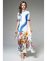 SHE IN SUN Women's Party Casual/Daily Simple Street chic Swing DressFloral Stand Maxi Half Sleeves Polyester All Seasons Fall Mid Rise Inelastic