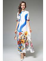Для женщин Для вечеринок На каждый день Простое Уличный стиль С летящей юбкой Платье Цветочный принт,Воротник-стойка Макси Рукав до локтя