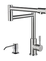 Modern/Comtemporary Modern/Contemporary Deck Mounted Telescopic with  Ceramic Valve Nickel Brushed , Kitchen faucet