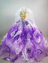Festa/Noite Vestidos Vestidos Para Boneca Barbie Roxo Claro Vestidos Para Menina de Boneca de Brinquedo