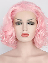 Women Synthetic Wig Lace Front Short Medium Length Curly Wavy Natural Wave Loose Wave Pink Lolita Wig Party Wig Celebrity Wig Halloween
