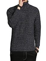 Standard Pullover Da uomo-Casual Taglie forti Semplice Tinta unita A collo alto Manica lunga Cotone Poliestere Autunno Inverno Medio