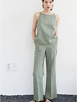 Women's Going out Casual/Daily Street chic Spring Summer Tank Top Pant Suits,Solid Strap Sleeveless