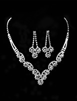 Women's Necklace Rhinestone Fashion Classic Rhinestone Alloy Round Earrings Necklace For Wedding Party Engagement Wedding Gifts