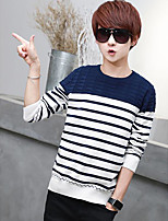 Men's Casual/Daily Simple Regular Pullover,Color Block Round Neck Long Sleeves Others Spring Medium Micro-elastic