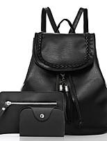 Women Bags All Seasons PU Bag Set 3 Pcs Purse Set Zipper for Casual Black