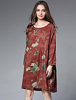 JIANRUYI Women's Going out Casual/Daily Boho Loose Dress,Floral Round Neck Midi Long Sleeves Cotton Linen Fall Mid Rise Inelastic Medium
