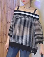 Women's Casual/Daily Simple Blouse,Check Boat Neck Short Sleeves Acrylic