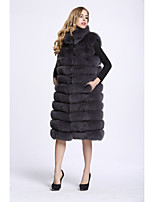 BF-Fur Style Women's Going out Simple Winter Fur Coat,Solid V Neck Sleeveless Regular Faux Fur