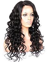 economico -Donna Parrucche di capelli umani con retina Brasiliano Remy Senza colla e con tulle frontale 130% Densità Ondulato Parrucca Nero jet Nero