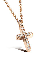 Women's Pendant Necklaces Cubic Zirconia Cross Jewelry Stainless Steel Rose Gold Plated Fashion Luxury Jewelry For Wedding Daily