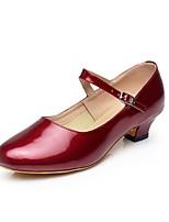 Women's Modern Faux Leather Heel Professional Buckle Cuban Heel Gold Black Silver Dark Red