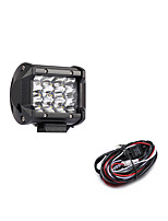 36W 3600LM 6000K 3-Rows LED Work Light Cool White Spot Offroad Driving Light for Car/Boat/Headlight IP68 9-32V DC  2m 1-To-1 Wiring Harness Kit