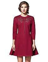 Women's Going out Casual/Daily Simple Street chic A Line Sheath Dress,Solid V Neck Above Knee Long Sleeves Cotton Summer Fall High Rise