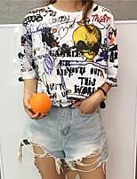 Tee-shirt Femme,Imprimé Décontracté / Quotidien Chic de Rue Eté Manches Courtes Col Arrondi Coton Moyen