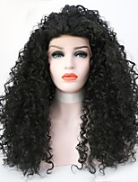 Women Synthetic Wig Lace Front Long Curly Kinky Curly Black Natural Hairline Natural Wigs Costume Wig