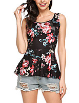 Women's Daily Holiday Casual Sexy Street chic T-shirt,Floral Round Neck Sleeveless Polyester